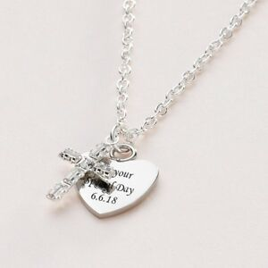 Engraved Necklace Heart with Beautiful Crystal Cross. Christian Jewellery Gift.