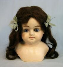 "Antique Paper Paper Mache Doll Head Glass Eyes Human Hair Wig 7.5"" tall Sweet!"