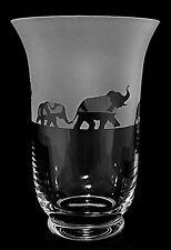 *ELEPHANT GIFT*  BOXED CRYSTAL GLASS VASE with ELEPHANT FRIEZE design (5070)