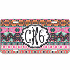 Personalized Car Tag Pink Tribal Aztec Monogrammed License Plate Auto Vanity Tag