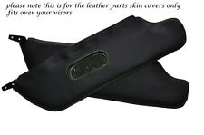 GREEN STITCH 2X SUN VISORS LEATHER COVERS FITS FIAT 124 SPIDER 1966-1977