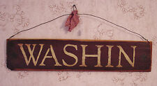 """""""Washin"""" Burgundy/Brown Country Wooden Sign - 1010"""