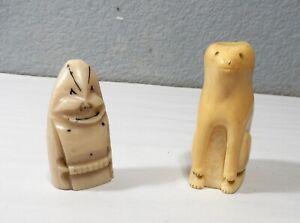 Antique Billiken- Inuit Eskimo Good Luck Charms, Billiken and Bear- Organic Bone