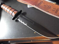 "12 1/8"" KA-BAR US ARMY FIGHTING / UTLITY KNIFE WITH SERRATED EDGE LEATHER SHEATH"