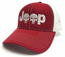 Jeep Logo With Punisher Skull Symbol Embroidered Mesh/Twill Cap Red/White