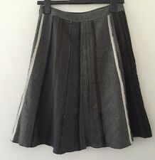 PROMOD GREY WOOL BLEND LINED DECONSTRUCTED SPLICED SKIRT - SIZE 8