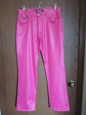 New Women's Girl's Bubblegum BG USA Pink Slim Fit Straight Leg Shiny Wet Look