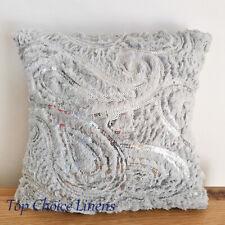43*43cm Home Decor Sequin Paisley Fluffy Faux Fur Sofa Cushion Cover-GreySilver
