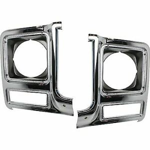New Head light Headlight Doors Headlamp Bezels Set of 2 Driver & Passenger Pair