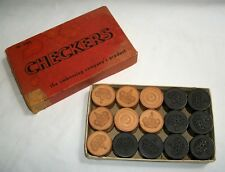 Vintage Wooden Checkers Set No.3406 Embossing Company Embossed