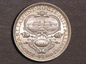 AUSTRALIA 1927 1 Florin Parliament House Silver AU-Unc