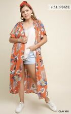 Umgee Tropical Print Short Sleeve Open Front Long Kimono w Pintuck Details PLUS*
