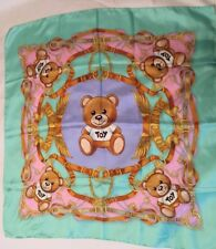 "Moschino Silk Scarf Toy Bear Teal Pink Green Horsebit Square 34"" Damage"