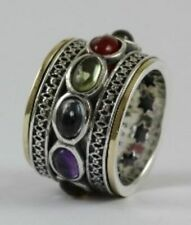 OR PAZ 925 Sterling Silver & 14K Gold Spinner Multi Gemstone Ring, Size 7,Israel