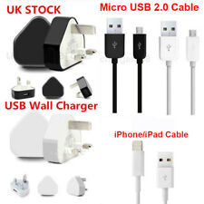 High Speed UK Mains Plug Charger Wall & USB Data Sync Cable Samsung iPhone iPad