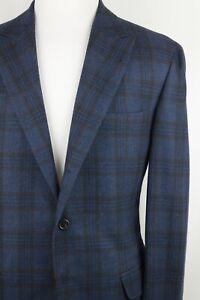 Brunello Cucinelli Blue Rust Brown Check Wool Cashmere Flannel Peak Lapel SC 44R