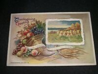 "Antique Winsch THANKSGIVING Postcard, Cornucopia, """"The Earth is the Lord's..."""