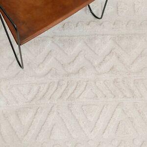 Cream Tribal Rugs Scandi Boho Flatweave Textured Eco Friendly Bedroom Cotton Mat