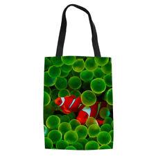 Green Designs Canvas Handbag Women Girls Workout School Shoulder Bags Open Bag