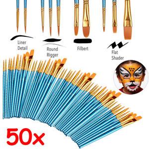 50x Pinsel Künstlerpinsel Pinselset Für Acrylfarben Ölmalerei Aquarell Malpinsel