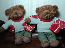 "Hallmark Plush Pair 12"" Teddy Bears with Winter Scarf & Mittens 100th Ann."