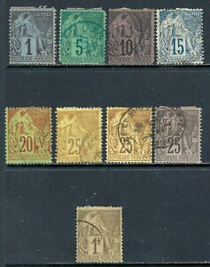 FRENCH COLONIES 1881-86 Commerce Used Issues Group - Nice! (Jun 731)