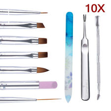 10pcs Manicure Kit UV Gel Acrylic Painting Brushes Cuticle Remover Clipper Tools