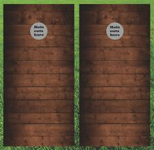 Wood Planks Cornhole Wrap Set - Fast Shipping!!