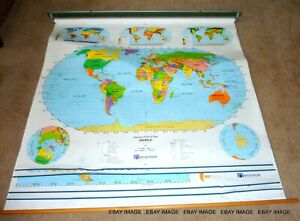 Nystrom Herff Jones Large - World Pull Down Map - The Americas / Canada   CPICS