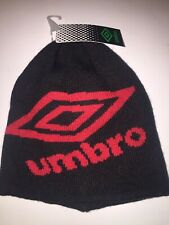 Umbro Signal Youth Knit Skully Beanie - Black & Red-One Size Fits All