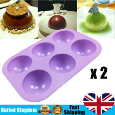 2Pcs Half Ball Sphere Silicone Cake Mold Chocolate Cookie Ice Candy Baking Mould