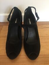 Women's Marc's Black Suede Peep Toe Strappy Wedge, Size 41