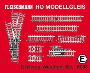 """Fleischmann  6093 Dreiweg-Weichen-Set H0 """"NEU"""""""