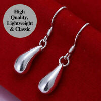 925 Sterling Silver Plated Cute Subtle Teardrop Dangle Drop Earrings Jewellery