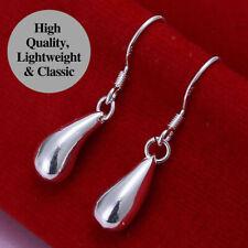 925 Sterling Silver Plated Cute Subtle Teardrop Dangle Drop Earrings Jewelry