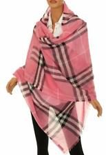NEW BURBERRY  XLARGE ROSE PINK GIANT CHECK WOOL SILK GAUZE SCARF WRAP SHAWL