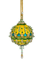 The Cracker Box Inc Christmas Ornament Kit Creme De Ment on Yellow with Emerald