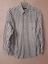 NAUTICA White Striped 100% Two-Ply Cotton Long Sleeve Button Up Dress Shirt Size
