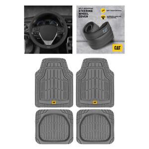 CAT Steering Wheel Cover+All Weather Heavy Duty Universal Front/Rear Floor Mats