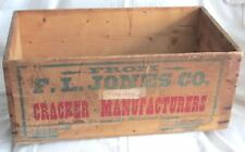 Antique F.L. JONES CO. Cracker Manufacturers WOOD CRATE Bangor Maine Advertising
