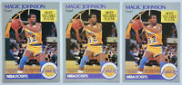 1990-91 HOOPS BASKETBALL Earvin Magic Johnson (3x) Card Lot #157 NM Lakers MVP