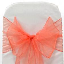 150 CORAL WEDDING ORGANZA SASHES CHAIR COVER BOW SASH  SASHES BOW UK SELLER