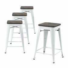 Set of Four White 24 Inches Counter High Metal Bar Stools, Indoor/Outdoor
