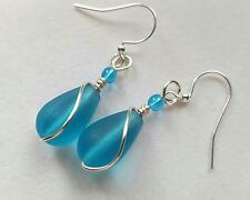 PACIFIC BLUE Sea / Beach glass teardrop, handmade silver wire wrap drop/dangle 2