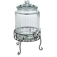 Del Sol 1 1/2-Gallon Beverage Jug with Iron Stand, Glass Beverage Server, NEW
