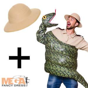 Snake Costume + Safari Hat Adults Fancy Dress Mens Ladies Halloween Costume