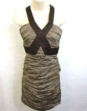 BCBG MAXAZRIA Dress Size 8 Simsom Mocha Taffeta Sleeveless Ruched $348 NWT