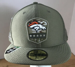 Denver Broncos Fitted Cap Hat New Era 59fifty 7 1/2 Salute to Service NEW $41.99