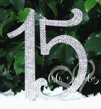 Quinceanera 15 Elegant Cake Topper Silhouette In Silver Crystal Rhinestones