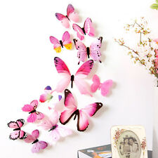 12pcs Decal Wall Stickers Home Decorations 3D Butterfly Rainbow Pink